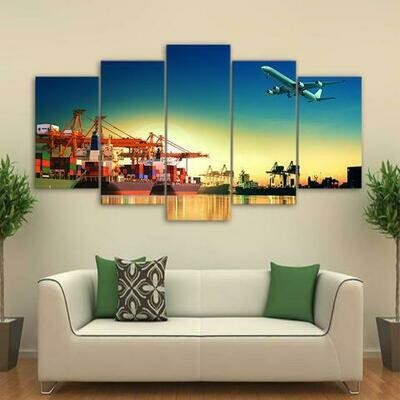 Airplane Sunset In Port - 5 Panel Canvas Print Wall Art Set
