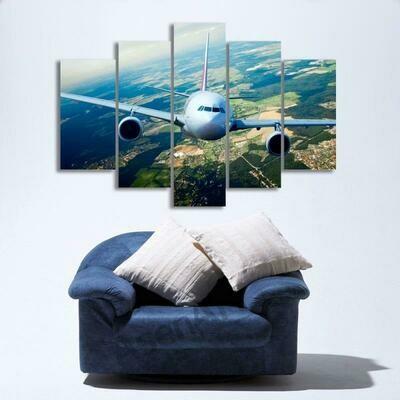 Airplanes Modern - 5 Panel Canvas Print Wall Art Set