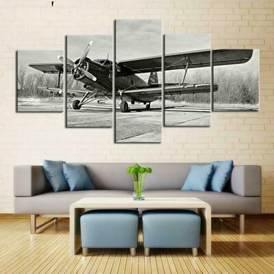 Black And White Airplane - 5 Panel Canvas Print Wall Art Set