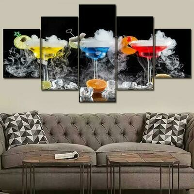 Drink Abstract - 5 Panel Canvas Print Wall Art Set
