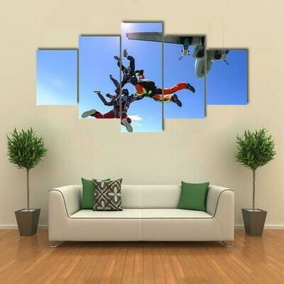 Parachutists Jumping Out Of Airplane - 5 Panel Canvas Print Wall Art Set