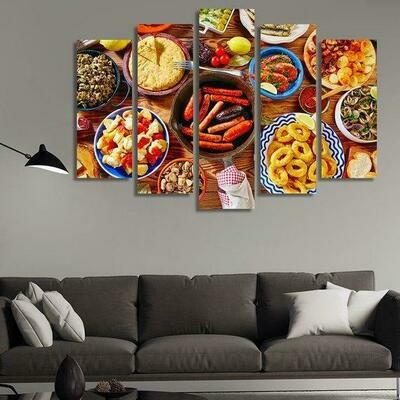 Food - 5 Panel Canvas Print Wall Art Set