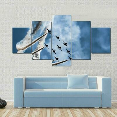 Sky Fighters Airshow - 5 Panel Canvas Print Wall Art Set