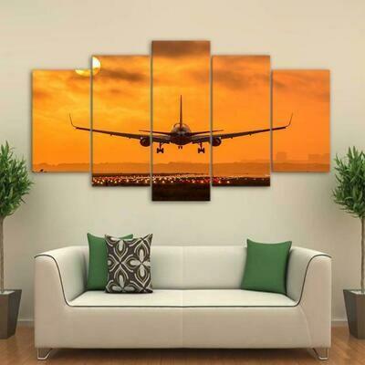 Sunset Airplane Take Off - 5 Panel Canvas Print Wall Art Set
