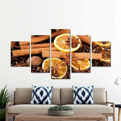 Coffee & Spices - 5 Panel Canvas Print Wall Art Set