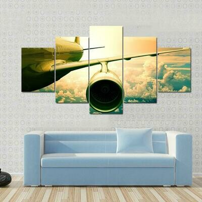 Airplane Wings Flying Above Clouds - 5 Panel Canvas Print Wall Art Set