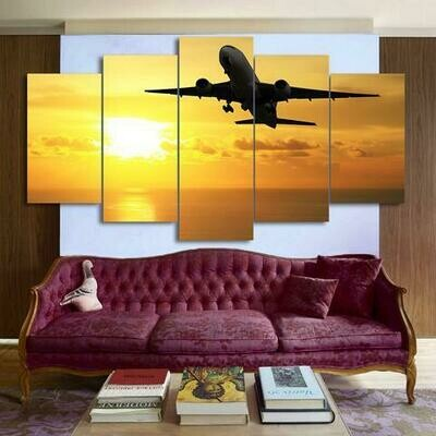 Flying Airplane In Golden Sunset - 5 Panel Canvas Print Wall Art Set