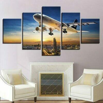 Jet Aircraft Sunset Landing - 5 Panel Canvas Print Wall Art Set