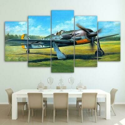 Military Airplane Take Off On Green Grass - 5 Panel Canvas Print Wall Art Set