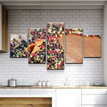 Flow Of Spices - 5 Panel Canvas Print Wall Art Set
