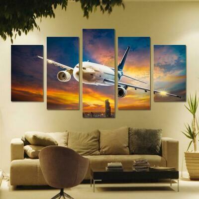 Plane Colorful Sky - 5 Panel Canvas Print Wall Art Set