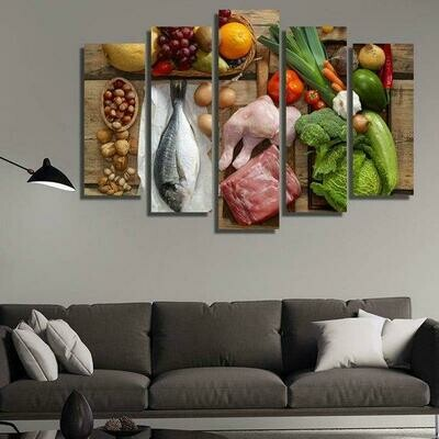 Fresh Meat - 5 Panel Canvas Print Wall Art Set