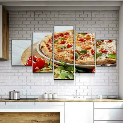 Fresh Pizza - 5 Panel Canvas Print Wall Art Set