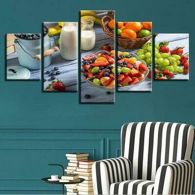 Fruit Milk Landscapes - 5 Panel Canvas Print Wall Art Set