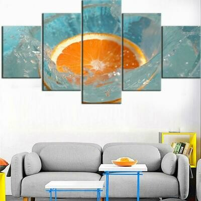 Fruit Oranges Poster - 5 Panel Canvas Print Wall Art Set
