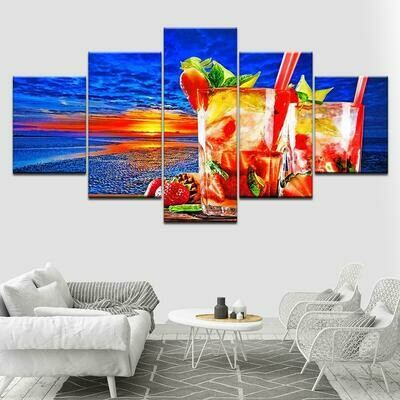Fruit Tea - 5 Panel Canvas Print Wall Art Set