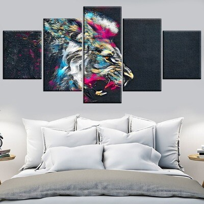 Abstract Color Lion Multi Canvas Print Wall Art