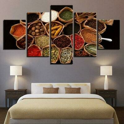 Food Spices- 5 Panel Canvas Print Wall Art Set