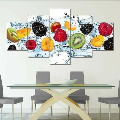 Fresh Fruits - 5 Panel Canvas Print Wall Art Set