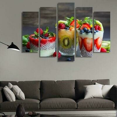 Fruit Beams - 5 Panel Canvas Print Wall Art Set
