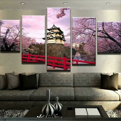 Cherry Blossom Japan Flowers - 5 Panel Canvas Print Wall Art Set