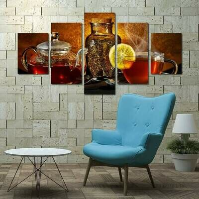 Glass Teapot - 5 Panel Canvas Print Wall Art Set