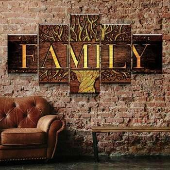 Golden Family Tree - 5 Panel Canvas Print Wall Art Set