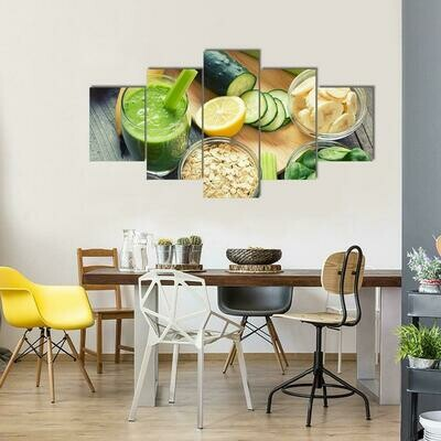 Green Fresh Healthy Smoothie With Fruits And Vegetables - 5 Panel Canvas Print Wall Art Set
