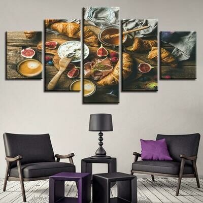Food Honey And Bread - 5 Panel Canvas Print Wall Art Set