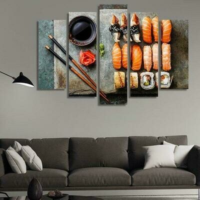 Japanese Food - 5 Panel Canvas Print Wall Art Set