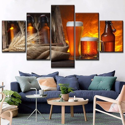 Beer And Wheat Multi Canvas Print Wall Art