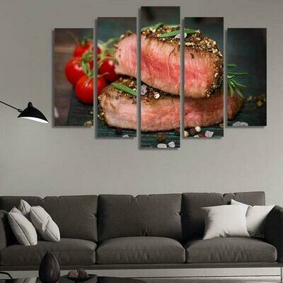 Juicy Medium-Rare Beef Steak - 5 Panel Canvas Print Wall Art Set
