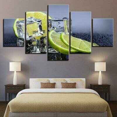 Kitchen And Restaurant Lemon Ice Cubes Food Drink - 5 Panel Canvas Print Wall Art Set
