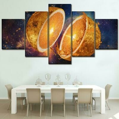 Fruit Oranges - 5 Panel Canvas Print Wall Art Set
