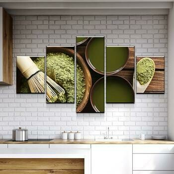 Matcha Life - 5 Panel Canvas Print Wall Art Set