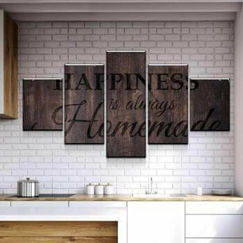 Happiness Is Always Homemade - 5 Panel Canvas Print Wall Art Set