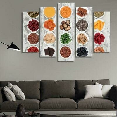 Healthy Selection Of Food In Porcelain Bowls - 5 Panel Canvas Print Wall Art Set