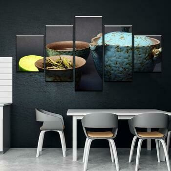 Hot Tea - 5 Panel Canvas Print Wall Art Set