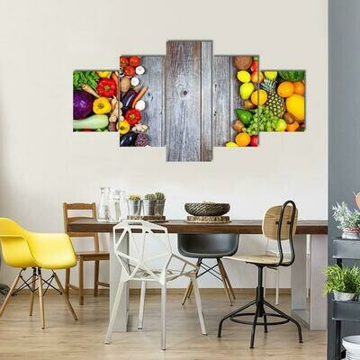 Huge Group Of Fresh Vegetables And Fruit - 5 Panel Canvas Print Wall Art Set