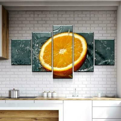Orange In The Water - 5 Panel Canvas Print Wall Art Set