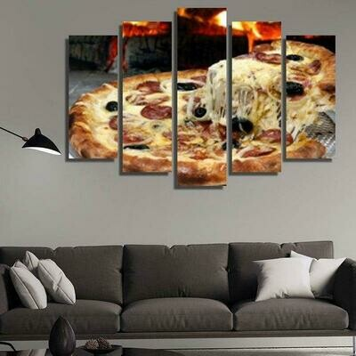 Hot Pizza - 5 Panel Canvas Print Wall Art Set