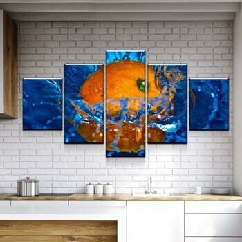 Orange Kitchen - 5 Panel Canvas Print Wall Art Set
