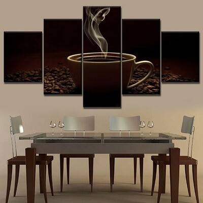 Coffee Beans And Hot Black Coffee Multi Canvas Print Wall Art