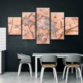 Peach Marble - 5 Panel Canvas Print Wall Art Set