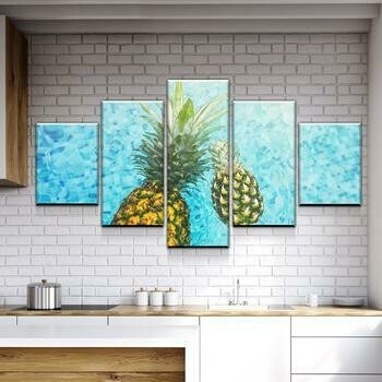 Pineapple In The Water Kitchen And Dining Room - 5 Panel Canvas Print Wall Art Set