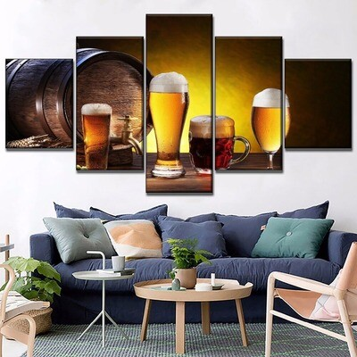 Beer Cellar Wooden Pot Multi Canvas Print Wall Art