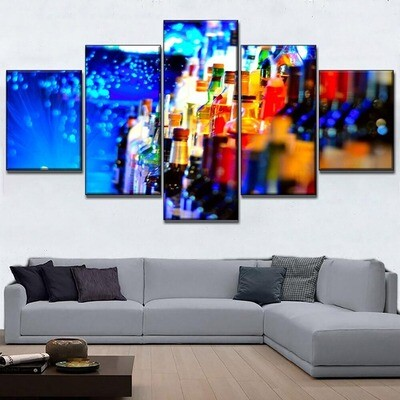 Colorful Drink Turquoise Whisky Multi Canvas Print Wall Art