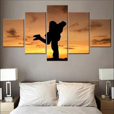 Couple Joy Mood Shadow Multi Canvas Print Wall Art