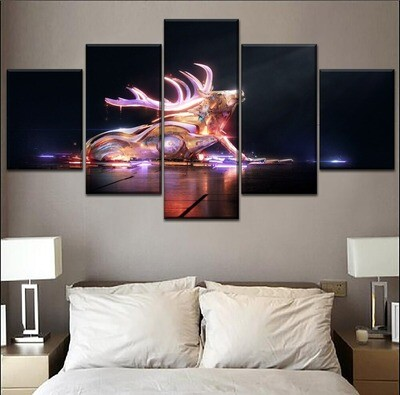 Abstract Luminous Bull Multi Canvas Print Wall Art