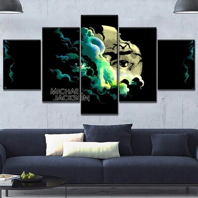 Abstract Jackson Concert Face Eye Multi Canvas Print Wall Art